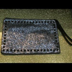 Silver glittery clutch